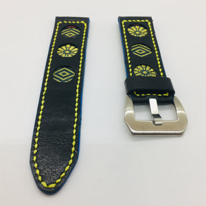 47Ronin#076 Black calf leather (22mm, Yellow stitches)