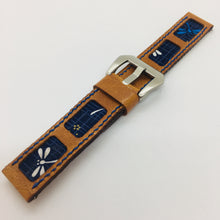 Load image into Gallery viewer, 47Ronin#077 Bronze brown calf leather watch strap with Navy Blue dragonfly Japanese print fabric (20mm, Blue stitches)