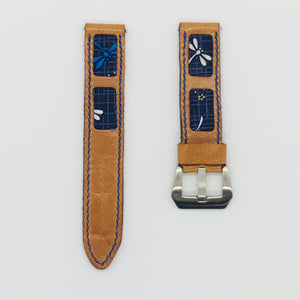 47Ronin#077 Bronze brown calf leather watch strap with Navy Blue dragonfly Japanese print fabric (20mm, Blue stitches)