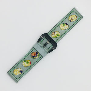 47Ronin#078 Tiffany Blue calf leather watch strap with Flowery Japanese print fabric (24mm, Green stitches)