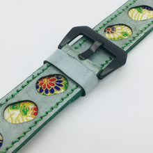 Load image into Gallery viewer, 47Ronin#078 Tiffany Blue calf leather watch strap with Flowery Japanese print fabric (24mm, Green stitches)