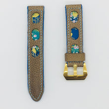 Load image into Gallery viewer, 47Ronin#079 Tan brown calf leather watch strap with Blue & Golden Japanese print fabric (20mm,  Baby Blue stitches)