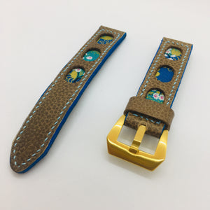 47Ronin#079 Tan brown calf leather watch strap with Blue & Golden Japanese print fabric (20mm,  Baby Blue stitches)
