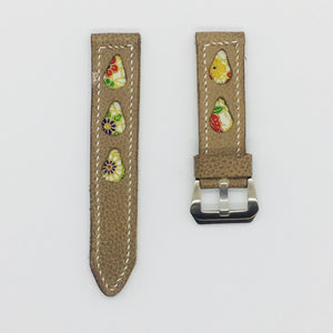47Ronin#080 Tan brown calf leather watch strap with Flowery Japanese print fabric (22mm,  White stitches)
