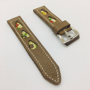 47Ronin#080 Tan brown calf leather (22mm,  White stitches)