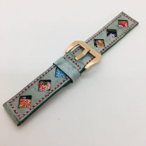 47Ronin#081 Tiffany Blue calf leather watch strap with Flowery Japanese print fabric (22mm, Pink stitches)