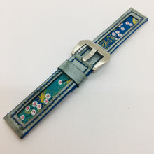 Load image into Gallery viewer, 47Ronin#082 Tiffany Blue calf leather watch strap with Blue Flowery Japanese print fabric (20mm, Blue stitches)
