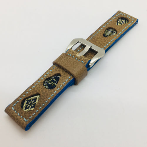 47Ronin#083 Tan brown calf leather watch strap with Navy blue & Gold Tatamiberi (22mm,  Baby blue stitches)