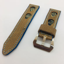 Load image into Gallery viewer, 47Ronin#083 Tan brown calf (22mm,  Baby blue stitches)