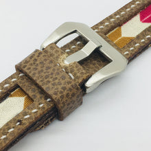 Load image into Gallery viewer, 47Ronin#085 Tan brown calf leather watch strap with Arrow Japanese print fabric (20mm, White stitches)