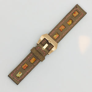 47Ronin#086 Tan brown calf leather (20mm, Pink stitches)