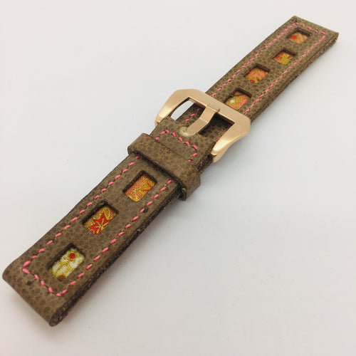 47Ronin#086 Tan brown calf leather watch strap with Flowery Japanese print fabric (20mm, Pink stitches)