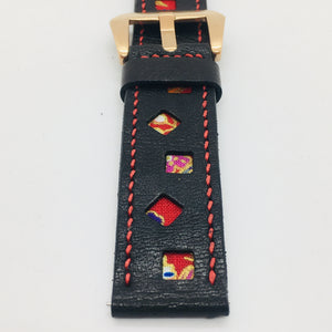 47Ronin#087 Black calf leather watch strap with Red Japanese print fabric (22mm, Red stitches)