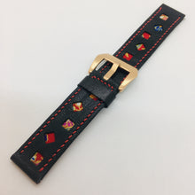 Load image into Gallery viewer, 47Ronin#087 Black calf leather watch strap with Red Japanese print fabric (22mm, Red stitches)