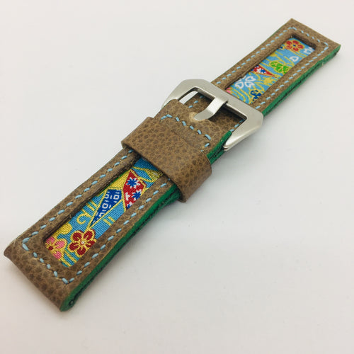 47Ronin#089 Tan brown calf leather watch strap with Blue Flowery Japanese print fabric (24mm, Baby blue stitches)