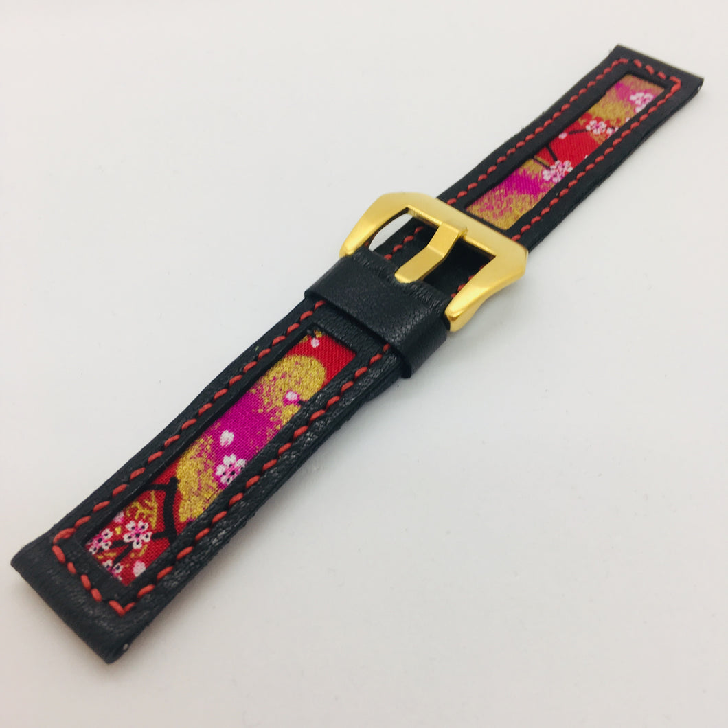 47Ronin#090 Black calf leather watch strap with Red Flowery Japanese print fabric (20mm, Red stitches)