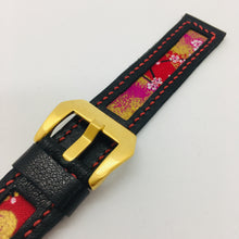 Load image into Gallery viewer, 47Ronin#090 Black calf leather watch strap with Red Flowery Japanese print fabric (20mm, Red stitches)