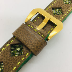 47Ronin#091 Tan brown calf leather watch strap with Green & Gold Tatamiberi fabric (22mm, Yellow stitches)