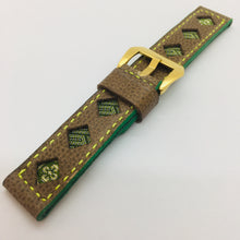 Load image into Gallery viewer, 47Ronin#091 Tan brown calf leather watch strap with Green & Gold Tatamiberi fabric (22mm, Yellow stitches)
