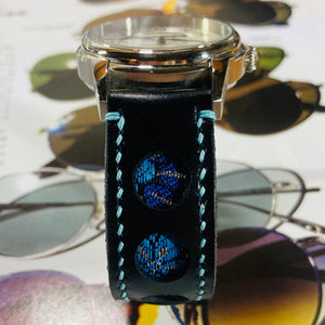 47Ronin#219 Black calf leather (20mm, Sky blue stitching)