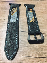 Load image into Gallery viewer, 47Ronin#015 Leather watch strap with Kimono fabric (22mm, Dark grey leather with special print, Black, gold & blue Kimono fabric, Blue stitches