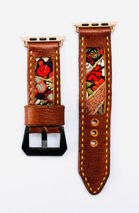 47Ronin#014 Leather watch strap with Kimono fabric (22mm, Brown leather, White, black, gold & red fabric, Yellow thread)