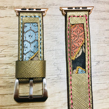 Load image into Gallery viewer, 47Ronin#017 Leather watch strap with Kimono fabric (22mm, leather with golden coating, Black, gold, red & blue Kimono fabric, Pink & blue stitches