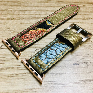 47Ronin#017 Leather watch strap with Kimono fabric (22mm, leather with golden coating, Black, gold, red & blue Kimono fabric, Pink & blue stitches