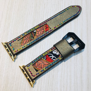 47Ronin#018 Leather watch strap with Kimono fabric (20mm, leather with golden coating, Black, gold, red Kimono fabric, Rainbow stitches