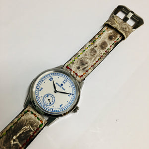 47Ronin#030 Crocodile skin watch strap with Hornback (20mm, colourful stitches)