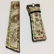 Load image into Gallery viewer, 47Ronin#030 Crocodile skin watch strap with Hornback (20mm, colourful stitches)