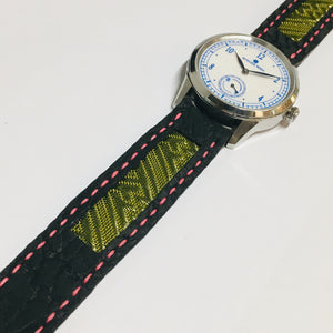 47Ronin#026 Leather watch strap with Tatamiberi fabric (20mm, pink stitches)