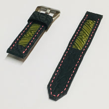 Load image into Gallery viewer, 47Ronin#026 Leather watch strap with Tatamiberi fabric (20mm, pink stitches)