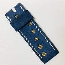 Load image into Gallery viewer, 47Ronin#032 Goat skin watch strap with Kagoshima silk, Oshimatsumugi (18mm, white stitches)