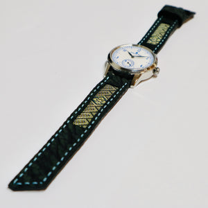 47Ronin#025 Leather watch strap with Tatamiberi fabric (20mm, blue stitches)