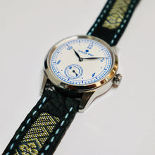 Load image into Gallery viewer, 47Ronin#025 Leather watch strap with Tatamiberi fabric (20mm, blue stitches)