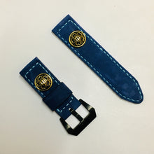 Load image into Gallery viewer, 47Ronin#033 Goat skin watch strap with brass button from Japan school uniform (20mm, white stitches)