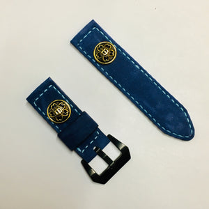 47Ronin#033 Goat skin watch strap with brass button from Japan school uniform (20mm, white stitches)