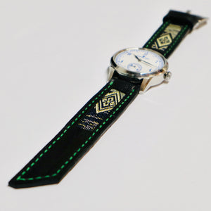 47Ronin#027 Leather watch strap with Tatamiberi fabric (20mm, green stitches)