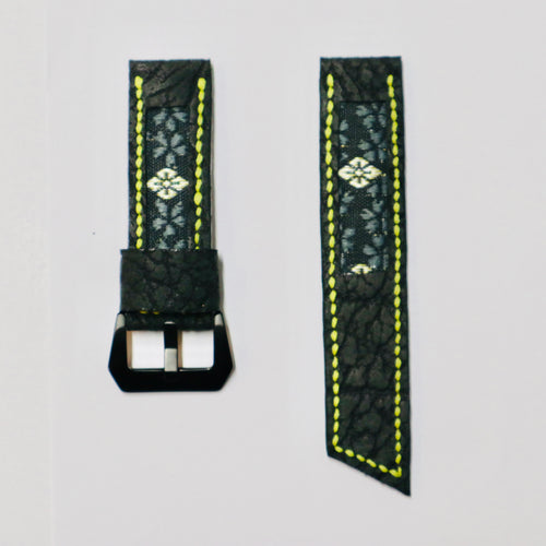 47Ronin#024 Leather watch strap with Tatamiberi fabric (24mm, yellow stitches)