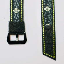 Load image into Gallery viewer, 47Ronin#024 Leather watch strap with Tatamiberi fabric (24mm, yellow stitches)