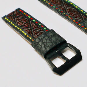 47Ronin#023 Leather watch strap with Tatamiberi fabric (26mm, colourful stitches)