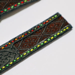 47Ronin#23 Leather watch strap with Tatamiberi fabric (26mm, colourful stitches)