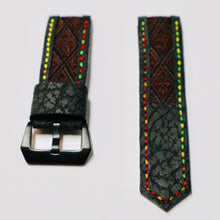 Load image into Gallery viewer, 47Ronin#023 Leather watch strap with Tatamiberi fabric (26mm, colourful stitches)