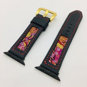47Ronin#098 Black calf leather (22mm, Red stitches)