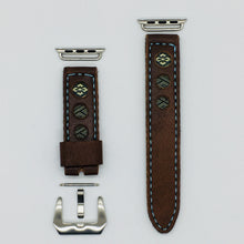 Load image into Gallery viewer, 47Ronin#035 Brown calf leather watch strap with Navy blue & gold Tatamiberi from Japan (20mm, blue stitches)