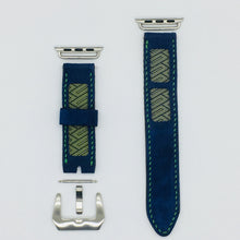 Load image into Gallery viewer, 47Ronin#040 Navy blue goat leather watch strap with Blue, gold Tatamiberi from Japan (20mm, green stitches)