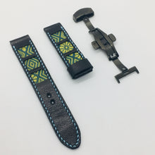 Load image into Gallery viewer, 47Ronin#048 Black calf leather watch strap with Blue & Gold Tatamiberi from Japan (21mm, blue stitches)
