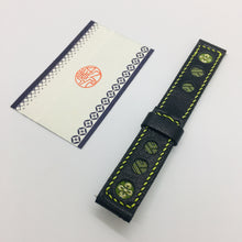Load image into Gallery viewer, 47Ronin#039 Black calf leather watch strap with Matcha green & gold Tatamiberi from Japan (20mm, yellow stitches)