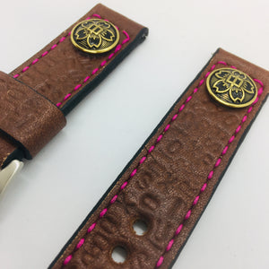 47Ronin#047 Dark brown calf leather watch strap with Japanese school uniform button, letters embossed  (22mm, maroon stitches)